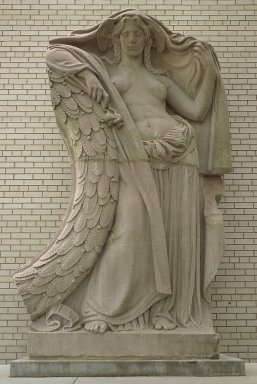 Adolph Alexander Weinman (American, born Germany, 1870-1952). <em>Night, Clock Figure from Pennsylvania Station, 31st to 33rd Streets between 7th and 8th Avenues, NYC</em>, ca. 1910. Tennessee marble, 132 x 86 x 42 in. (335.3 x 218.4 x 106.7 cm). Brooklyn Museum, Gift of Lipsett Incorporated, 66.250.1. Creative Commons-BY (Photo: Brooklyn Museum, 66.250.1.jpg)