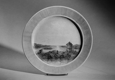 John Edwards. <em>Plate</em>, ca. 1876. Painted porcelain, 1 1/4 x 11 x 11 in. (3.2 x 27.9 x 27.9 cm). Brooklyn Museum, Gift of Queens Borough Public Library, 66.27.3. Creative Commons-BY (Photo: Brooklyn Museum, 66.27.3_acetate_bw.jpg)