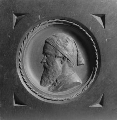 John Mackie Falconer (American, 1820-1903). <em>Plaque of John Mackie Falconer (Self-Portrait)</em>, ca. 1870. Bronze, wood, Overall: 8 1/2 x 8 7/16 x 7/8 in. (21.6 x 21.4 x 2.2 cm). Brooklyn Museum, Gift of Queens Borough Public Library, 66.27.4. Creative Commons-BY (Photo: Brooklyn Museum, 66.27.4_acetate_bw.jpg)