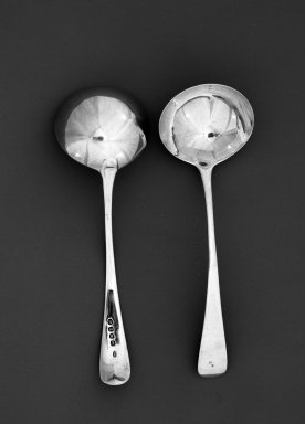 T S. <em>Sauce or Gravy Ladles</em>, ca. 1807. Silver, 6 3/4 in. (17.1 cm). Brooklyn Museum, H. Randolph Lever Fund, 66.32.97. Creative Commons-BY (Photo: , 66.32.97_66.32.98_acetate_bw.jpg)