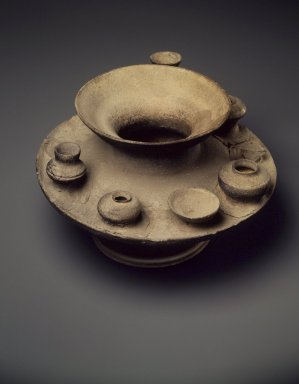 <em>Jar with Attached Miniature Vessels, Sue Ware</em>, 5th-6th century. Gray stoneware, 6 1/2 x 10 1/2 in. (16.5 x 26.7 cm). Brooklyn Museum, Gift of Mrs. Albert H. Clayburgh in memory of her mother, Mrs. E. Evelyn Dorr, 66.33. Creative Commons-BY (Photo: Brooklyn Museum, 66.33.jpg)