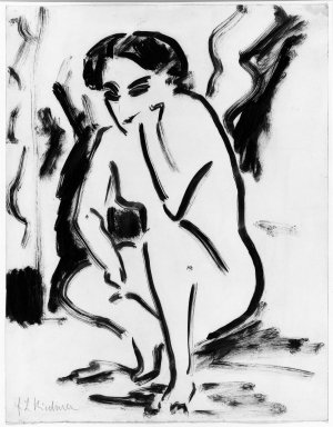 Ernst Ludwig Kirchner (German, 1880-1938). <em>Kauerndes Weib</em>, ca. 1909. Drawing in pen and brush on wove paper, 17 11/16 x 13 3/4 in. (45 x 35 cm). Brooklyn Museum, Purchased with funds given by Mr. and Mrs. Carl L. Selden, 66.38 (Photo: Brooklyn Museum, 66.38_acetate_bw.jpg)