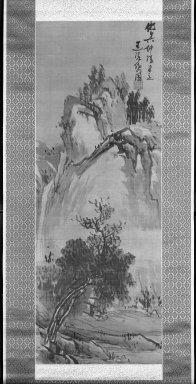 Tatabe Ryotai (Japanese, 1719-1774). <em>Landscape</em>, 18th century. Ink on silk, 32 1/2 x 12 1/4 in. (82.6 x 31.1 cm). Brooklyn Museum, Frank L. Babbott Fund, 66.4 (Photo: Brooklyn Museum, 66.4_acetate_bw.jpg)