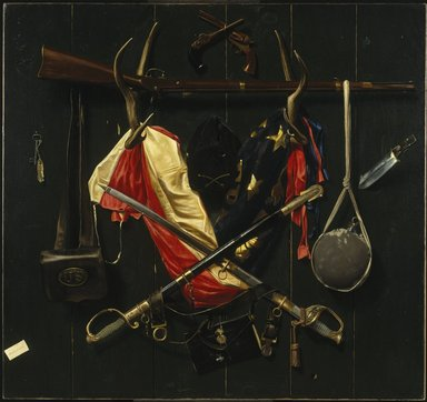 Alexander Pope (American, 1849-1924). <em>Emblems of the Civil War</em>, 1888. Oil on canvas, 54 3/16 x 51 1/8 in. (137.6 x 129.8 cm). Brooklyn Museum, Dick S. Ramsay Fund, Governing Committee of The Brooklyn Museum, and Anonymous Donors, 66.5 (Photo: Brooklyn Museum, 66.5_SL1.jpg)