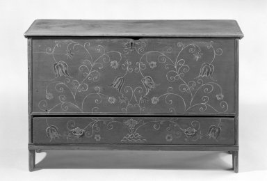 American. <em>Chest</em>, 1710-1725. Decorated pine, 28 1/2 x 18 1/2 x 43 in. (72.4 x 47 x 109.2 cm). Brooklyn Museum, H. Randolph Lever Fund, 66.70. Creative Commons-BY (Photo: Brooklyn Museum, 66.70_acetate_bw.jpg)