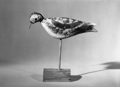 Lewis W. Kieth. <em>Decoy - Shore Bird (Dowitcher)</em>, ca. 1875. Painted wood, Bird: 3 3/4 x 1 3/8 x 9 5/8 in. (9.5 x 3.5 x 24.4 cm). Brooklyn Museum, H. Randolph Lever Fund, 66.73.2. Creative Commons-BY (Photo: Brooklyn Museum, 66.73.2_acetate_bw.jpg)