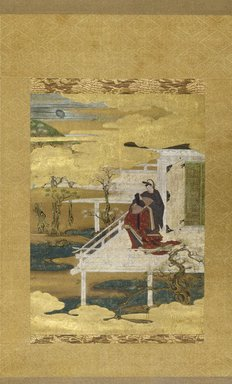 "After Iwasa Matabei (17th century). <em>Scene from the Tale of Genji (Hana No En, ""Festival of the Cherry Blossoms"")</em>, 17th century. Hanging scroll, ink color and gold leaf on paper, 49 3/16 x 18 1/8 in. (125 x 46 cm). Brooklyn Museum, Purchased with funds given by Mrs. Louis Nathanson and the Frank L. Babbott Fund, 66.76 (Photo: Brooklyn Museum, 66.76_IMLS_SL2.jpg)"