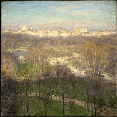 Willard Leroy Metcalf (American, 1858-1925). <em>Early Spring Afternoon--Central Park</em>, 1911. Oil on canvas, 35 15/16 x 35 15/16 in. (91.3 x 91.3 cm). Brooklyn Museum, Frank L. Babbott Fund, 66.85 (Photo: Brooklyn Museum, 66.85_SL1.jpg)