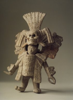 Maya. <em>Standing Figure of Dancer</em>, 600-900 C.E. Buff-orange ware, 8 1/4 in.  (21.0 cm). Brooklyn Museum, Purchased with funds given by an anonymous donor, Frank L. Babbott Fund, Carll H. de Silver Fund, Frederick Loeser Fund, Carl S. Smith Memorial Fund, Ella C. Woodward Memorial Fund and Alfred W. Jenkins Fund, 66.88. Creative Commons-BY (Photo: Brooklyn Museum, 66.88.jpg)