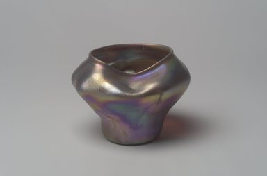 Tiffany Studios (1902-1932). <em>Vase</em>, ca. 1900-1920. Opalescent glass, 3 1/8 x 3 5/8 x 3 5/8 in. (7.9 x 9.2 x 9.2 cm). Brooklyn Museum, Bequest of Laura L. Barnes, 67.120.108. Creative Commons-BY (Photo: Brooklyn Museum, 67.120.108.jpg)