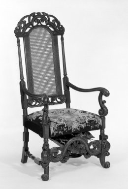 American. <em>Chair, Charles II Revival</em>, ca. 1910. Oak, cane back, 52 1/2 x 26 1/2 x 23 1/2 in. (133.4 x 67.3 x 59.7 cm). Brooklyn Museum, Bequest of Laura L. Barnes, 67.120.25a. Creative Commons-BY (Photo: Brooklyn Museum, 67.120.25a_bw.jpg)