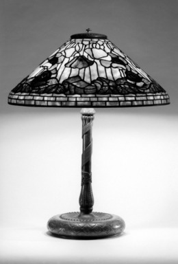 Tiffany Studios (1902-1932). <em>Lamp</em>, ca. 1910. Glass, bronze, and lead, 25 1/2 x 20 1/8 x 20 1/8 in. (64.8 x 51.1 x 51.1 cm). Brooklyn Museum, Bequest of Laura L. Barnes, 67.120.51. Creative Commons-BY (Photo: Brooklyn Museum, 67.120.51_bw.jpg)