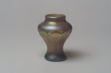 Tiffany Studios (1902-1932). <em>Vase</em>, ca. 1896-1919. Opalescent glass, 3 3/8 x 2 1/2 x 2 1/2 in. (8.6 x 6.4 x 6.4 cm). Brooklyn Museum, Bequest of Laura L. Barnes, 67.120.66. Creative Commons-BY (Photo: Brooklyn Museum, 67.120.66.jpg)