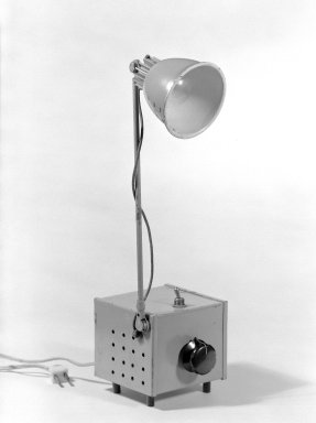 Jay Monroe. <em>Tensor High Intensity Lamp</em>, ca. 1959. Brass, steel, copper, plastic, glass, 18 x 4 1/2 x 5 1/2 in. (45.7 x 11.4 x 14 cm). Brooklyn Museum, Gift of Jay Monroe, 67.125. Creative Commons-BY (Photo: Brooklyn Museum, 67.125_bw.jpg)