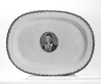 Clews Potworks. <em>Platter (Lafayette)</em>, ca. 1825. Creamware, 17 x 12 7/8 in. (43.2 x 32.7 cm). Brooklyn Museum, Gift of Mr. and Mrs. Samuel Schwartz, 67.126.4. Creative Commons-BY (Photo: Brooklyn Museum, 67.126.4_bw.jpg)