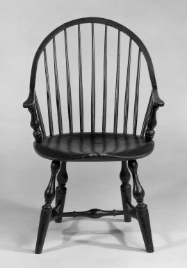 <em>Windsor Chair</em>, ca. 1793-1811. Maple, hickory, ash, 35 1/4 x 23 x 21 in. (89.5 x 58.4 x 53.3 cm). Brooklyn Museum, Gift of Mr. and Mrs. Henry Sherman, 67.128.10. Creative Commons-BY (Photo: Brooklyn Museum, 67.128.10_bw_IMLS.jpg)
