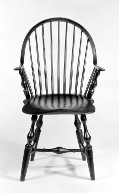 <em>Windsor Chair</em>, ca.1760. Maple, hickory, ash, 36 x 22 x 23 1/2 in. (91.4 x 55.9 x 59.7 cm). Brooklyn Museum, Gift of Mr. and Mrs. Henry Sherman, 67.128.11. Creative Commons-BY (Photo: Brooklyn Museum, 67.128.11_bw.jpg)