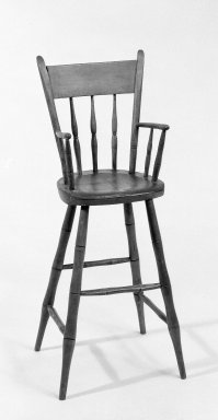 <em>Child's High Chair</em>, ca. 1775. Maple, pine, ash, 35 1/2 x 14 1/2 x 13 1/2 in. (90.2 x 36.8 x 34.3 cm). Brooklyn Museum, Gift of Mr. and Mrs. Henry Sherman, 67.128.14. Creative Commons-BY (Photo: Brooklyn Museum, 67.128.14_bw.jpg)
