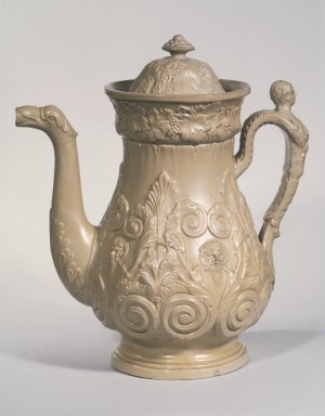 D. & J. Henderson. <em>Coffee Pot</em>, ca. 1829-1833. Yellow ware, 11 1/4 x 7 in. (28.6 x 17.8 cm). Brooklyn Museum, H. Randolph Lever Fund, 67.129.1. Creative Commons-BY (Photo: Brooklyn Museum, 67.129.1.jpg)