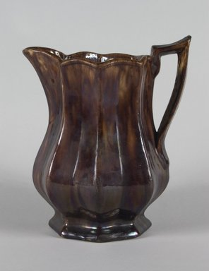 Otto Lewis. <em>Pitcher</em>, ca. 1850. Rockingham-glazed earthenware, 9 1/8 x 6 1/2 in. (23.2 x 16.5 cm). Brooklyn Museum, H. Randolph Lever Fund, 67.129.2. Creative Commons-BY (Photo: Brooklyn Museum, 67.129.2_PS5.jpg)