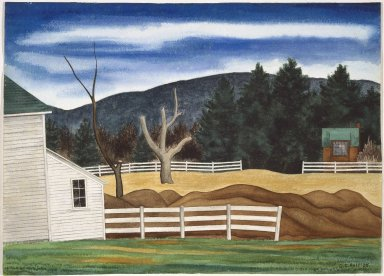George Copeland Ault (American, 1891-1948). <em>Woodstock Landscape</em>, 1938. Watercolor over graphite on cream-colored, very thick, rough textured wove paper, Sheet: 15 1/4 x 21 1/8 in. (38.7 x 53.7 cm). Brooklyn Museum, Gift of Mrs. George C. Ault, 67.132 (Photo: Brooklyn Museum, 67.132_SL1.jpg)