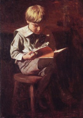 Thomas Pollock Anshutz (American, 1851-1912). <em>Boy Reading: Ned Anshutz</em>, ca. 1900. Oil on canvas, 38 1/16 x 27 1/16 in. (96.7 x 68.8 cm). Brooklyn Museum, Dick S. Ramsay Fund, 67.135 (Photo: Brooklyn Museum, 67.135_transp2320.jpg)