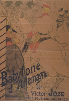 Henri de Toulouse-Lautrec (French, 1864-1901). <em>Babylone d'Allemagne Par Victor Joze</em>, 1894. Intaglio in color on canvas, 49 x 34 1/2 in. (124.5 x 87.6 cm). Brooklyn Museum, Gift of Mr. and Mrs. Henry L. Gage, 67.142 (Photo: Brooklyn Museum, 67.142.jpg)