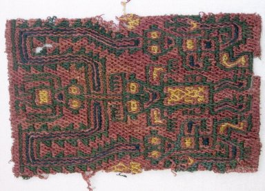 Paracas Necropolis. <em>Textile Fragment,  undetermined</em>, 200-600. Cotton, camelid fiber, 2 1/2 × 4 in. (6.4 × 10.2 cm). Brooklyn Museum, Gift of Adelaide Goan, 67.159.12. Creative Commons-BY (Photo: Brooklyn Museum, 67.159.12_SL1.jpg)
