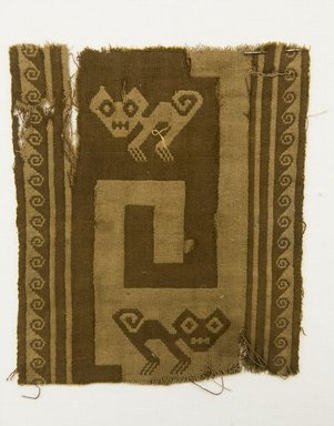 Chancay (Attributed by Nobuko Kajitani, 1993). <em>Textile Fragment, undetermined or Mantle, Fragment</em>, 1000-1532. Cotton, (18.0 x 16.0 cm). Brooklyn Museum, Gift of Adelaide Goan, 67.159.48. Creative Commons-BY (Photo: Brooklyn Museum, 67.159.48_front_PS5.jpg)