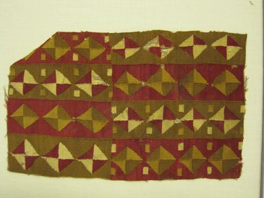 Inca/Arica (Attributed by Nobuko Kajitani, 1993). <em>Tunic?, Fragment or Tunic, Waistband, Fragment</em>, 1400-1532. Cotton, camelid fiber, 4 5/16 x 6 11/16 in. (11 x 17 cm). Brooklyn Museum, Gift of Adelaide Goan, 67.159.49. Creative Commons-BY (Photo: Brooklyn Museum, 67.159.49.jpg)