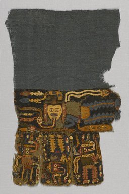 Nazca (attributed by Nobuko Kajatani, 1993). <em>Textile Fragment, Unascertainable or Mantle?, Fragment</em>, 200-600 C.E. Cotton, camelid fiber, 10 1/4 x 6 11/16in. (26 x 17cm). Brooklyn Museum, Gift of Adelaide Goan, 67.159.61. Creative Commons-BY (Photo: Brooklyn Museum, 67.159.61_PS9.jpg)