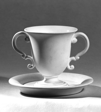 Josiah Wedgwood & Sons Ltd. (founded 1759). <em>Ice Cream Cup and Saucer</em>, 1790-1800. Jasperware, Cup: 2 3/4 x 2 1/2 in. (7 x 6.4 cm). Brooklyn Museum, Gift of Samuel L. Zeigen, 67.16.2. Creative Commons-BY (Photo: Brooklyn Museum, 67.16.2_bw.jpg)