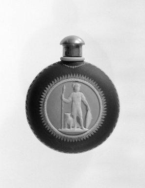 Josiah Wedgwood & Sons Ltd. (founded 1759). <em>Scent Bottle</em>, ca. 1840. Jasperware, 2 1/4 x 2 7/8 in. (5.7 x 7.3 cm). Brooklyn Museum, Gift of Samuel L. Zeigen, 67.16.4. Creative Commons-BY (Photo: Brooklyn Museum, 67.16.4_bw.jpg)