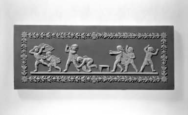 Josiah Wedgwood & Sons Ltd. (founded 1759). <em>Plaque</em>, early 19th century. Jasperware, 4 x 10 x 1/4 in. (10.2 x 25.4 x 0.6 cm). Brooklyn Museum, Gift of Samuel L. Zeigen, 67.16.5. Creative Commons-BY (Photo: Brooklyn Museum, 67.16.5_bw.jpg)