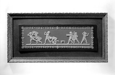Josiah Wedgwood & Sons Ltd. (founded 1759). <em>Plaque</em>, early 19th century. Jasperware, 4 x 12 x 1/4 in. (10.2 x 30.5 x 0.6 cm). Brooklyn Museum, Gift of Samuel L. Zeigen, 67.16.6. Creative Commons-BY (Photo: Brooklyn Museum, 67.16.6_bw.jpg)
