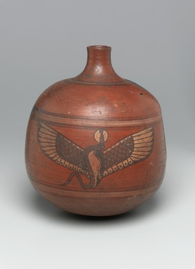 Nubian. <em>Globular Vase with Cylindrical Neck</em>, 2nd-3rd century C.E. Clay, slip, 11 5/8 x Diam. 10 1/16 in. (29.5 x 25.6 cm). Brooklyn Museum, Charles Edwin Wilbour Fund, 67.177. Creative Commons-BY (Photo: Brooklyn Museum, 67.177_side1_PS1.jpg)