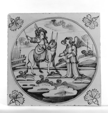<em>Tile</em>, ca. 1700-1725. Glazed earthenware, 5 x 5 x 1/4 in. (12.7 x 12.7 x 0.6 cm). Brooklyn Museum, H. Randolph Lever Fund, 67.179.21 (Photo: Brooklyn Museum, 67.179.21_bw.jpg)