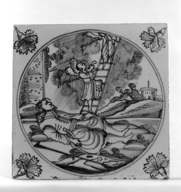 <em>Tile</em>, ca. 1700-1725. Glazwd earthenware, 5 x 5 x 1/4 in. (12.7 x 12.7 x 0.6 cm). Brooklyn Museum, H. Randolph Lever Fund, 67.179.30 (Photo: Brooklyn Museum, 67.179.30_bw.jpg)