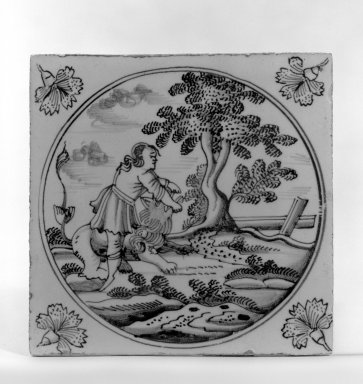 <em>Tile</em>, ca. 1700-1725. Glazed earthenware, 5 x 5 x 1/4 in. (12.7 x 12.7 x 0.6 cm). Brooklyn Museum, H. Randolph Lever Fund, 67.179.5 (Photo: Brooklyn Museum, 67.179.5_bw.jpg)
