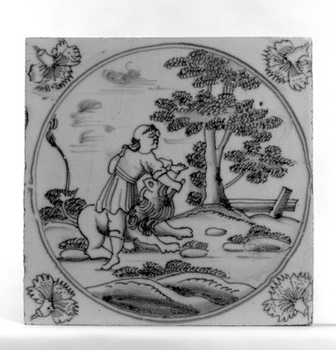<em>Tile</em>, ca.1700-1725. Glazed earthenware, 5 x 5 x 1/4 in. (12.7 x 12.7 x 0.6 cm). Brooklyn Museum, H. Randolph Lever Fund, 67.179.6 (Photo: Brooklyn Museum, 67.179.6_bw.jpg)