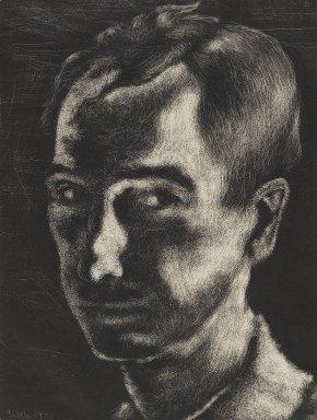 George Biddle (American, 1885-1973). <em>Self Portrait</em>, 1932. Lithograph, Sheet: 17 5/8 x 13 3/4 in. (44.8 x 34.9 cm). Brooklyn Museum, Gift of George Biddle, 67.185.25. © artist or artist's estate (Photo: Brooklyn Museum, 67.185.25_PS2.jpg)