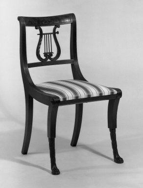 Duncan Phyfe (American, born Scotland, 1768-1854). <em>Chair, One from a Set of 10</em>, 1816. Mahogany, height of back: 23 1/4 in. (59.1 cm). Brooklyn Museum, H. Randolph Lever Fund, 67.19.1. Creative Commons-BY (Photo: Brooklyn Museum, 67.19.1_bw_IMLS.jpg)