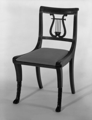 Duncan Phyfe (American, born Scotland, 1768-1854). <em>Chair, One from a Set of 10</em>, 1816. Mahogany, watered damask, height of back: 23 1/4 in. (59.1 cm). Brooklyn Museum, H. Randolph Lever Fund, 67.19.2. Creative Commons-BY (Photo: Brooklyn Museum, 67.19.2_bw_IMLS.jpg)
