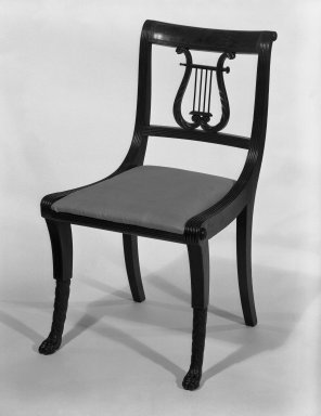 Duncan Phyfe (American, born Scotland, 1768-1854). <em>Chair, One from a Set of 10</em>, 1816. Mahogany, watered damask, height of back: 23 1/4 in. (59.1 cm). Brooklyn Museum, H. Randolph Lever Fund, 67.19.3. Creative Commons-BY (Photo: Brooklyn Museum, 67.19.3_bw_IMLS.jpg)