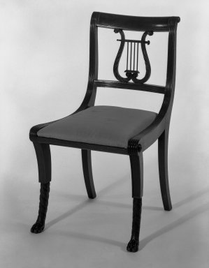 Duncan Phyfe (American, born Scotland, 1768-1854). <em>Chair, One from a Set of 10</em>, 1816. Mahogany, watered damask, height of back: 23 1/4 in. (59.1 cm). Brooklyn Museum, H. Randolph Lever Fund, 67.19.4. Creative Commons-BY (Photo: Brooklyn Museum, 67.19.4_bw_IMLS.jpg)