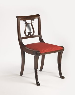 Duncan Phyfe (American, born Scotland, 1768-1854). <em>Chair, One from a Set of 10</em>, 1816. Mahogany, watered damask, Height of back: 23 1/4 in. (59.1 cm). Brooklyn Museum, H. Randolph Lever Fund, 67.19.5. Creative Commons-BY (Photo: Brooklyn Museum, 67.19.5_PS9.jpg)