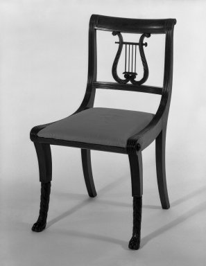 Duncan Phyfe (American, born Scotland, 1768-1854). <em>Chair, One from a Set of 10</em>, 1816. Mahogany, watered damask, height of back: 23 1/4 in. (59.1 cm). Brooklyn Museum, H. Randolph Lever Fund, 67.19.6. Creative Commons-BY (Photo: Brooklyn Museum, 67.19.6_bw_IMLS.jpg)