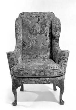 <em>Wing Chair</em>, ca. 1710. Walnut, needlework, 45 x 32 1/2 x 31 in. (114.3 x 82.6 x 78.7 cm). Brooklyn Museum, Gift of Mrs. H. A. Metzger, 67.197.10. Creative Commons-BY (Photo: Brooklyn Museum, 67.197.10_bw.jpg)