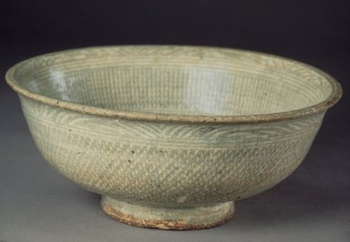 <em>Bowl</em>, first half 15th century. Buncheong ware, stoneware with white slip, Height: 3 1/4 in. (8.3 cm). Brooklyn Museum, Gift of Paul E. Manheim, 67.199.16. Creative Commons-BY (Photo: Brooklyn Museum, 67.199.16.jpg)