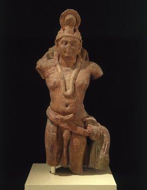 <em>Nagaraja</em>, 1st-2nd century. Sandstone, 47 x 18 x 10 3/8 in., 364 lb. (119.4 x 45.7 x 26.4 cm, 165.11kg). Brooklyn Museum, Frank L. Babbott Fund and A. Augustus Healy Fund, 67.202. Creative Commons-BY (Photo: Brooklyn Museum, 67.202_SL1.jpg)